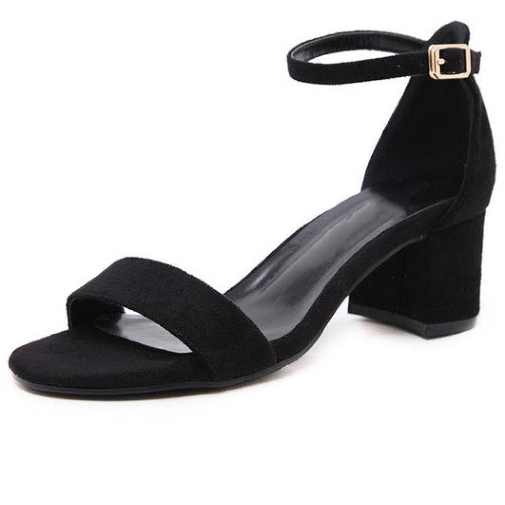 Frauen Schnallen Heels Sandalen Offene Zehen High Heels Schnallen Mode Wild Kleid schwarz 094a8e