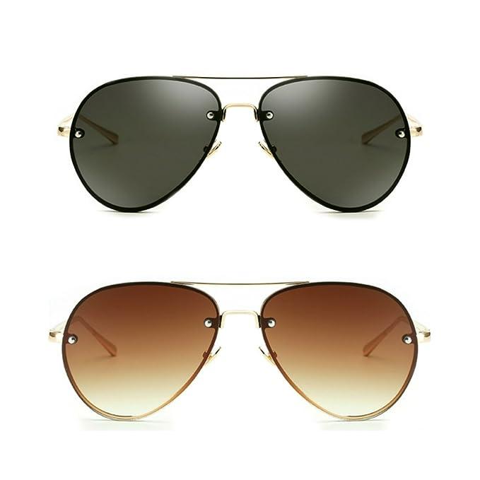 ea5051bc4c Oversize Vintage Aviator Sunglasses for Women Men 62mm Gold Metal Mirror  Clear (Black+Brown