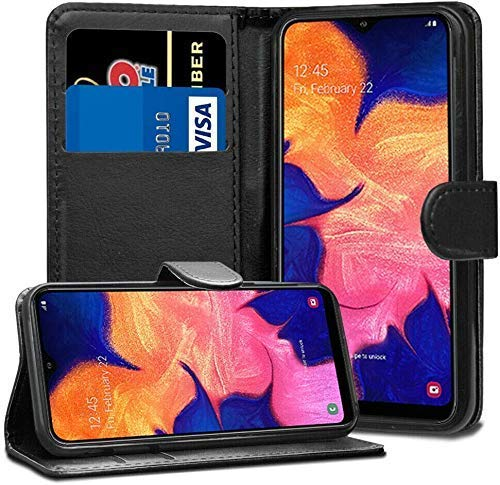 ASD Accessories Case For Samsung Galaxy A20e Leather Flip Card Wallet Cover Book Case (Black)