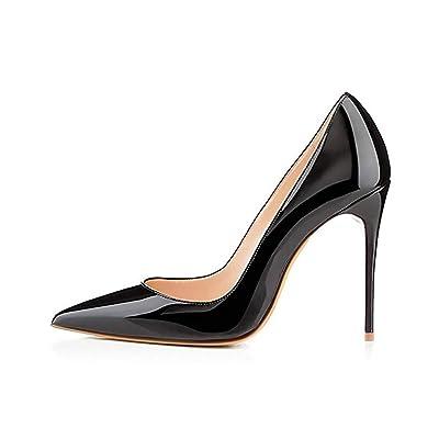 Elisabet Tang High Heels, Women Pumps Shoes 3.94 inch/10cm Pointed Toe Stiletto Sexy Prom Club Heels BK 9 Black | Pumps