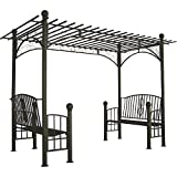 DC America PAGAR808MBR-S Toscana Double Bench Arbor with Pergola Style Top, Bronze