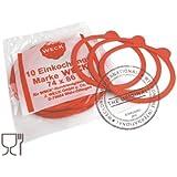 Weck Confezione 10 Guarnizioni da 80 mm, Plastica, Rosso Scuro