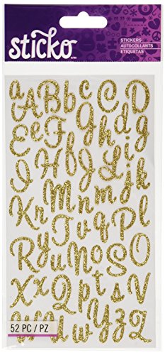 Sticko Sweetheart Gold Script Alphabet Sticker