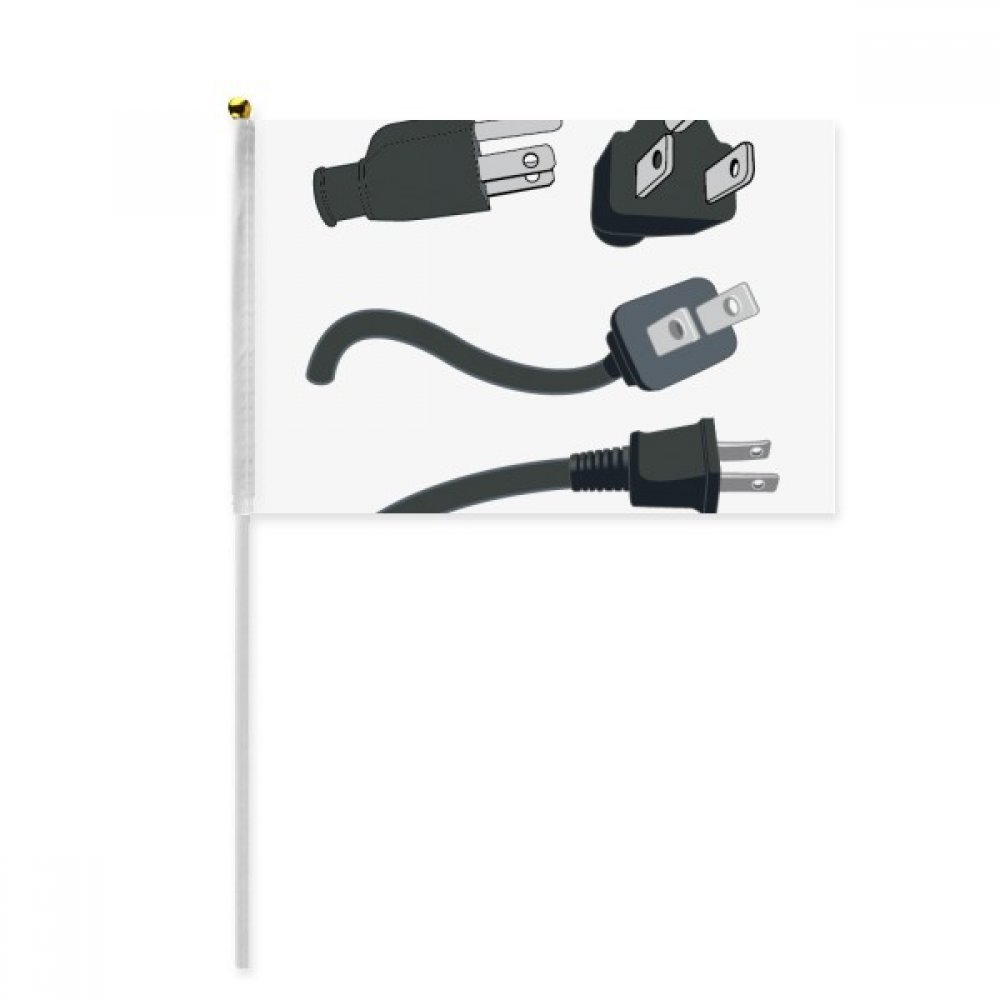 Black Charging Cable Plug Pattern Hand Waving Flag 8x5 inch Polyester Sport Event Procession Parade 4pcs