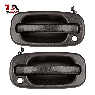 T1A Left and Right Pair of Black Exterior Door Handles Replacement for 1999-2007 Chevy Silverado and GMC Sierra, Fits Avalanche Escalade, Yukon XL, Yukon, Tahoe, Suburban, Denali T1A 15034985/15034986: Automotive