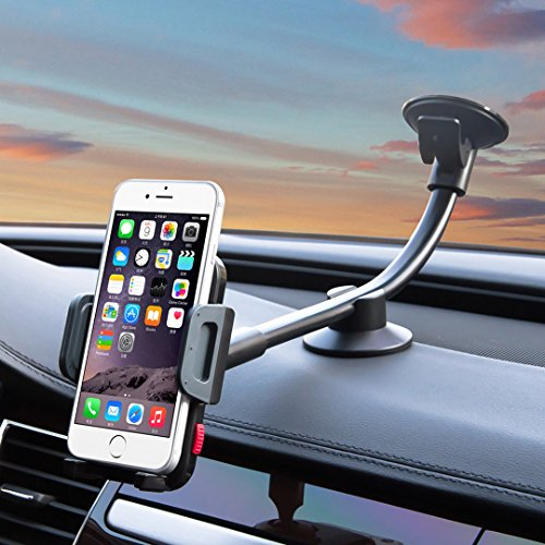 Universal Car Phone Mount Holder, Windshield Long Arm Cell Phone Holder for iPhone 7/6S/6 Plus/5S/5, Samsung Galaxy S6 S5, Nexus 5X/6P, LG, HTC and Other Smartphones