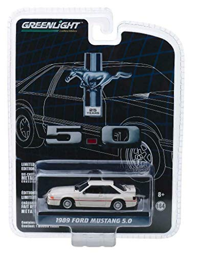 1989 Ford Mustang 5.0 Cream with Red Stripe 25 Years Anniversary Collection Series 7 1/64 Diecast Model Car by Greenlight 27970 E