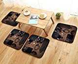 UHOO2018 Home Chair Set Wood Texture Men s Everyday Objects on a Background Meet Accessories Machine-Washable W21.5 x L21.5/4PCS Set