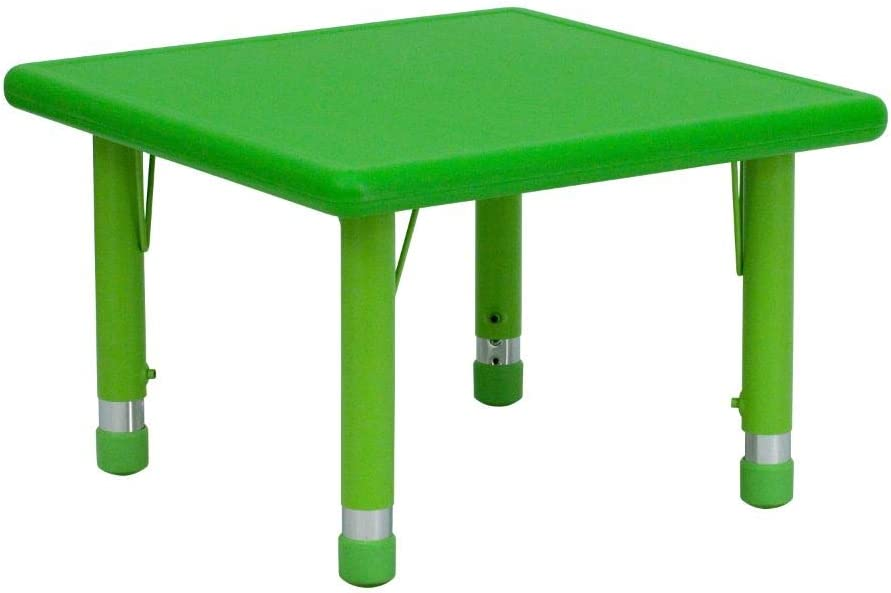 Flash Furniture 24'' Square Green Plastic Height Adjustable Activity Table