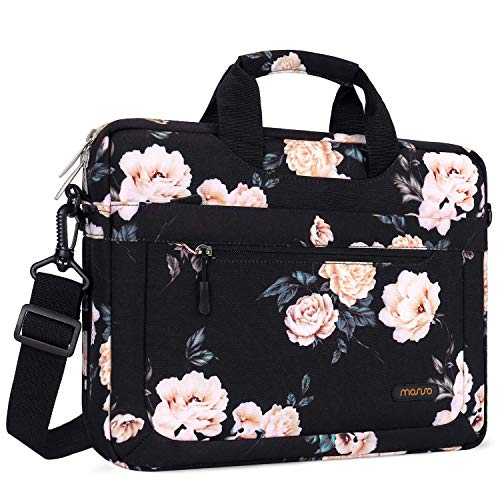 MOSISO Laptop Shoulder Bag Compatible with 13-13.3 inch MacBook Pro, MacBook Air, Notebook Computer with Adjustable Depth at Bottom, Polyester Messenger Carrying Briefcase Handbag Sleeve,Apricot Peony