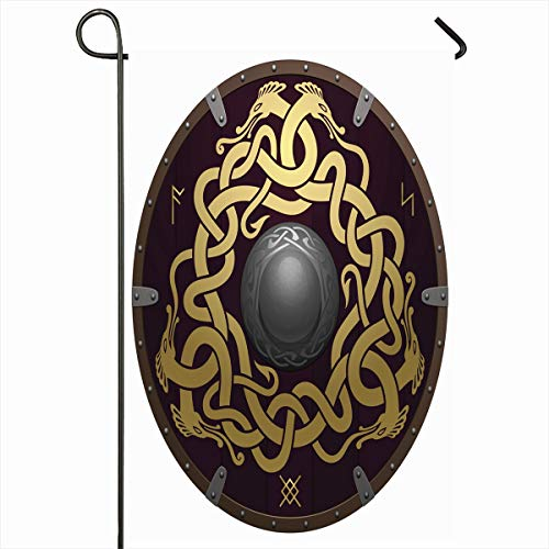 """Ahawoso Outdoor Garden Flags 12""""x18"""" Inch Runes Brown Barbarian Realistic Round Shield Viking Ancient Medieval Wooden Vintage Dragon Nordic Vertical Double Sided Home Decorative House Yard Sign"""