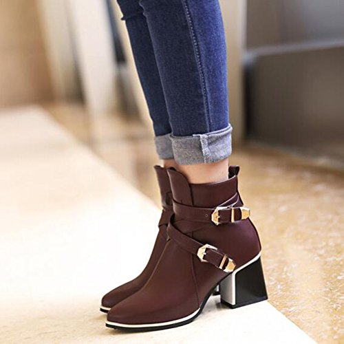 Trendy Toe Block Medium Aisun Wine Zipper Heel Red Side Pointed Booties Buckled Ankle Belt Women's Xwxrq0Yq5