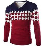 KingField Men's Fashion V-neck Diamond Printing Patchwork Long Sleeve Sweater