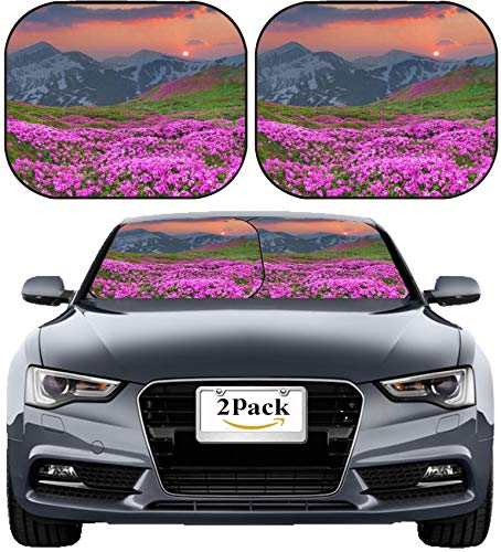 MSD Car Sun Shade Windshield Sunshade Universal Fit 2 Pack, Block Sun Glare, UV and Heat, Protect Car Interior, Image ID: 29988403 Magic Pink Rhododendron Flowers in The Mountains Summer Sunrise