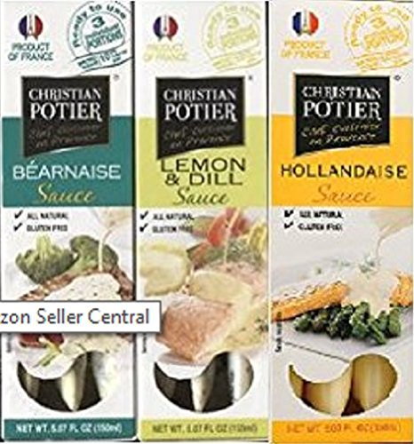 Christian Potier Gourmet White Sauce Bundle: One 5.07 Oz Package of Hollandaise, Bernaise, Lemon Dill (3 Packages)