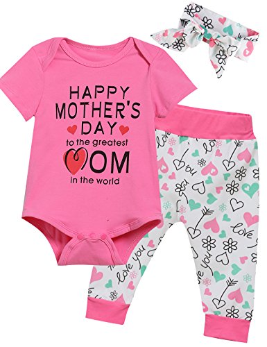 Happy Girl (Lorjoy 3PCS Baby Girls' Happy Mother's Day Outfit Set Short Sleeve Bodysuit (3-6 Months))