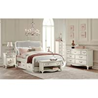 Hillsdale Kids and Teens 20025NS Kensington Katherine Upholstered Panel Bed with Storage, Full, Antique White
