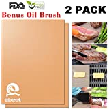 Gold Grill Mat Set of 2-100% Non-stick BBQ Grill & Baking Mats - FDA-Approved, PFOA Free, Reusable and Easy to Clean - Works on Gas, Charcoal, Electric Grill and More - 15.75 x 13 Inch