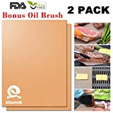 Gold Grill Mat Set of 2- 100% Non-stick BBQ Grill & Baking Mats - FDA-Approved, PFOA Free, Reusable and Easy to Clean - Works on Gas, Charcoal, Electric Grill and More - 1575 x 13 Inch