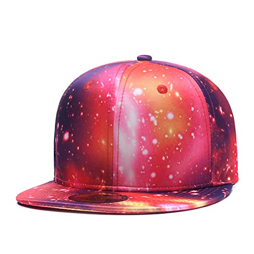 (Galaxy Snapback Hat Unisex Trucker Hat Hip Hop Plaid Flat Bill Brim Adjustable Baseball Cap Red Blue)