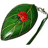 Leather Change/coin Purse, Jewelry Holder. Green Leaf and Ladybug Pattern, Zipper.