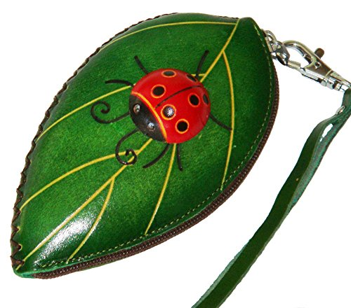 Leather Change/coin Purse, Jewelry Holder. Green Leaf and Ladybug Pattern, Zipper. by BPLeathercraft