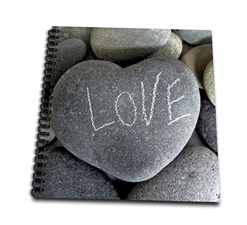 3dRose Andrea Haase Still Life Photography - Grey Heart Shaped Pebble With Handwritten Word Love On It - Memory Book 12 x 12 inch (db_268537_2)