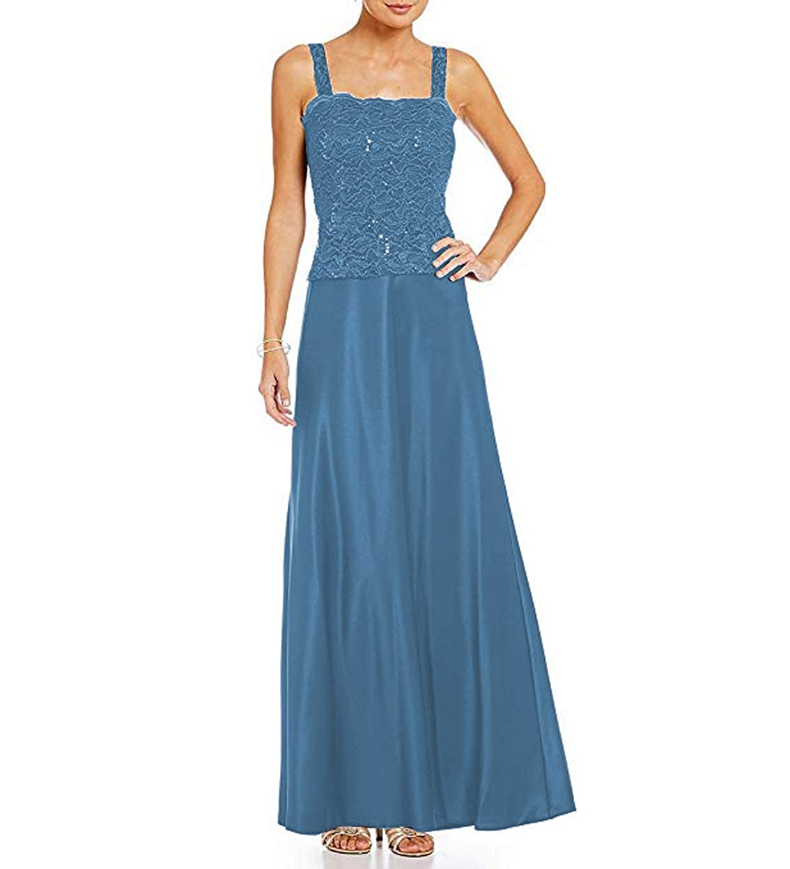 bluee Women's Satin Ankle Length Mother of The Bride Dresses with Lace Jacket Plus Size 2 Piece