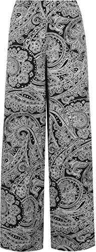 WearAll Women's Paisley Print Long Wide Leg Flared Palazzo Pants Trousers