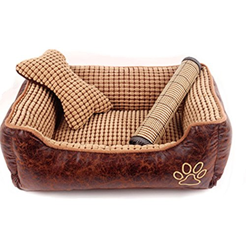 M 705522cm Pet Online Pet bed gold teddy detachable and washable thickening warm autumn and winter cushion, M  70  55  22cm