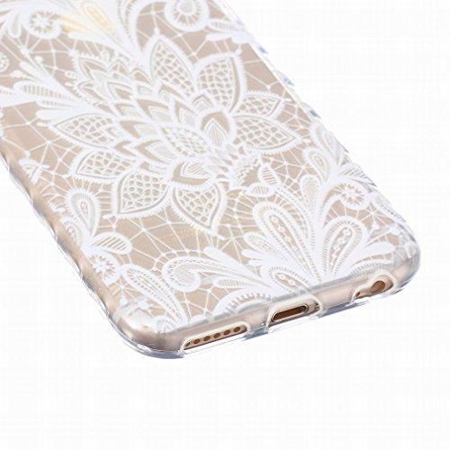 LEMORRY iphone 6 Plus / 6S Plus (5.5inch) Coque Etui, [Dérapage] Ripple Bord Conception Fleur Soft Mince Soft Caoutchouc TPU Silicone Transparent Clear Skin Housse Protecteur