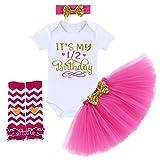 IBTOM CASTLE Baby Girls Newborn It's My 1st/2nd Birthday 4Pcs Outfits Shinny Printed Romper+Skirt+Headband Cake Smash Princess Dress 4 Pcs Rose (0-6 Months) One Size