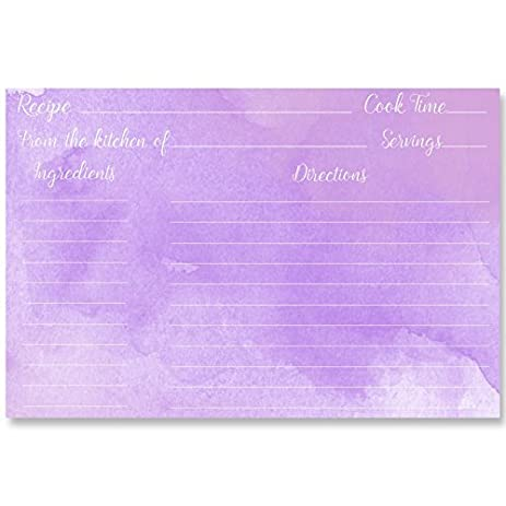 recipe cards purple lavender watercolor painted water color house warming