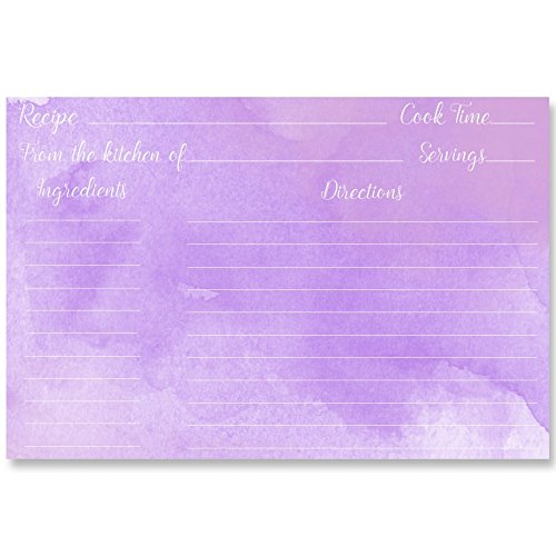 (Recipe Cards, Bridal Shower, Purple, Lavender, Watercolor, Water Color, Housewarming, Wedding Shower, Gift, Gifts, Wedding, 24 Pack Printed Recipe Cards)