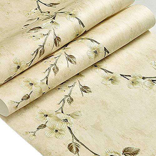 MULLSAN Vintage Rose Contact Paper Peel and Stick Shelf Liner Drawer Locker Sticker Beige 20.8 Inch by 79Inch ()