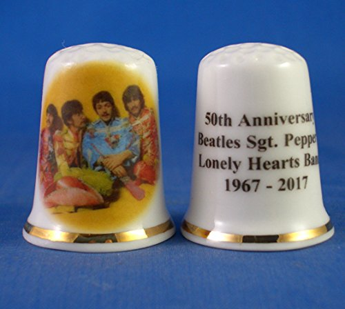 (Porcelain China Collectable Thimble - Beatles Sgt Peppers 50th Anniversary -- Free Gift Box)