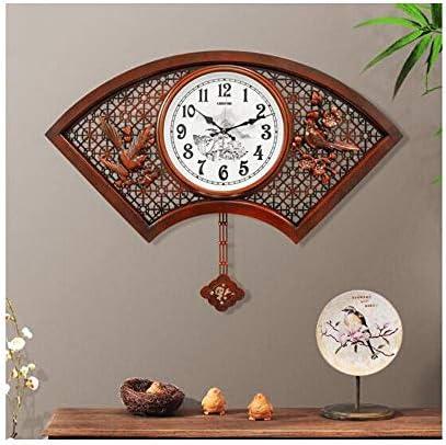 KEHUITONG 時計、中国の扇形の純木の壁掛け時計、サイレントクリエイティブリビングルームの壁掛け時計、クォーツ振り子時計、中国風の時計掛け時計、24インチ (Size : Dark wood)