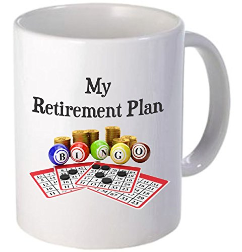 Rikki Knight ''My Retirement Plan is Bingo-Funny Quotes White Handle and Inside Design'' Ceramic Coffee Mug Cup, 11 oz, White by Rikki Knight