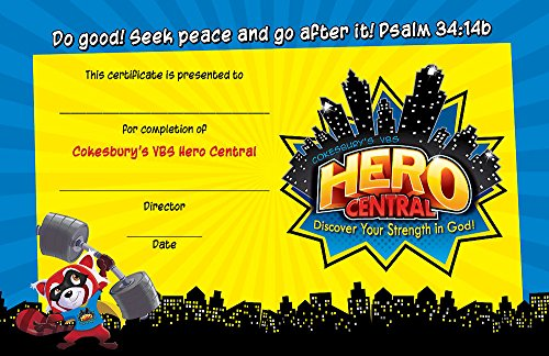 Vacation Bible School VBS Hero Central Student Certificates (Pkg of 48): Discover Your Strength in (Vbs Certificate)