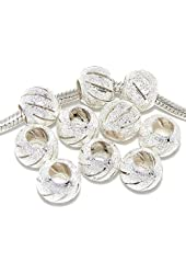 Pro Jewelry Ten (10) Stardust Spacer Beads for Snake Chain Charm Bracelets