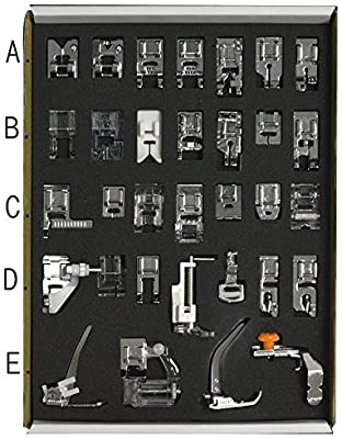 Gosear Accesorio de coser máquina prensatelas pies Set hogar artículo servicios herramienta misceláneas casa 32pcs