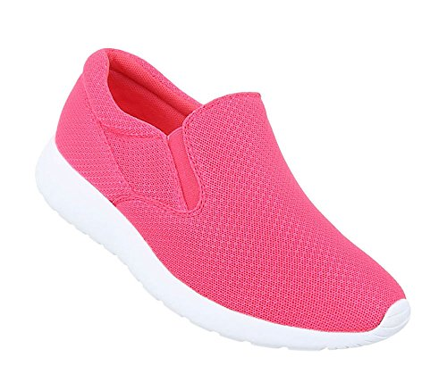 Damen Sportschuhe Slip Ons Rosa Grau Flach Damen Schuhe