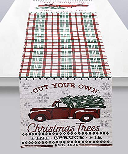 Ekavya Christmas Xmas Tree Farm Fabric Holiday Table Runner Red Truck Table Runner for Xmas Decoration, Dinner Parties, Gift, 14 x 70 inches (Christmas Decorations Farm Tree)