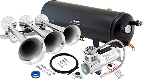 Vixen Horns Loud 149dB 3/Triple Chrome Trumpet Train Air Horn with 3 Gallon Tank and 200 PSI Compressor Full/Complete Onboard System/Kit VXO8330/3118