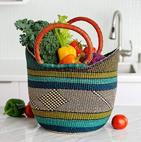 (Large Yikene Shopper - Ghana Bolga Basket Fair Trade - 16
