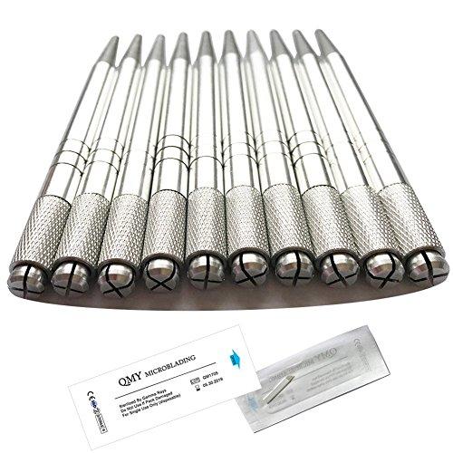 (Wholesale Aluminium Microblading Pen 10Pcs Silver Color Lightweight Manual Microblade Needle Holder - QMYBrow)