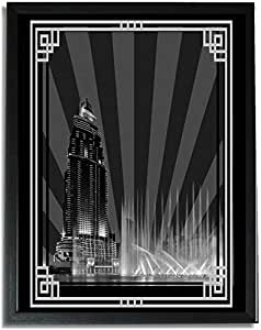 Address Hotel Down Town- Black And White With Silver Border No Text F09-nm (a4) - Framed