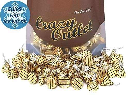 CrazyOutlet Pack - Hershey's Kisses Espresso, Milk Chocolate Coffee Mocha Flavor Candy, Gold Brown Striped Foil, Bulk Pack, 2 lbs