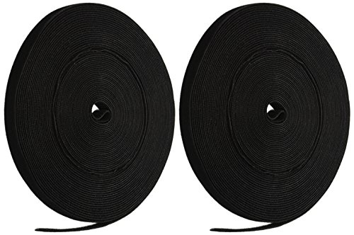 iMBAPrice Long Cable Fastening Tape - (Pack of 2) 0.75 inch Single Wrap Hook & Loop (75 feet) 25 Yards/Roll - Black