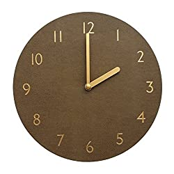 Decorative Wall Clock Silent & Non-Ticking Quartz Clock PU Leather Lightweight 0.4lb Round 9 (Brown)